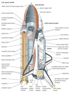tarzan1941:  Cutaway drawing of the Space Shuttle, External Fuel Tank and Solid Rocket Boosters.