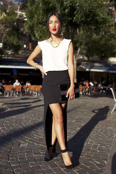(Zara Skirt/Top, Vintage Necklace/Bracelet/Bag, Jennifer Hawkins for Siren Heels)
