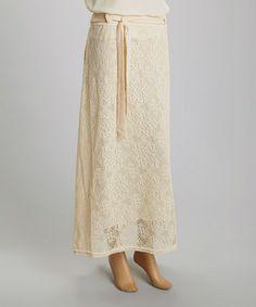 Look at this #zulilyfind! Crème Lace Maxi Skirt #zulilyfinds only $16.99!