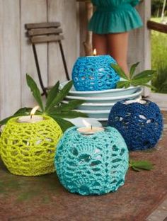 Crochet Retro Lantern Covers