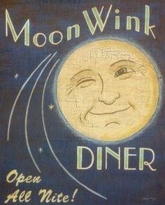 Vintage Moon Wink Diner Love this! Vintage Moon, Vintage Ads, Vintage Diner, Vintage Signs, Retro Diner, Vintage Restaurant, Vintage Space, Vintage Stuff, Sun Moon Stars