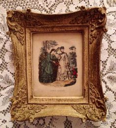 Vintage French Print Victorian Wall Hanging Ornate Frame in Collectibles, Decorative Collectibles, Wall Hangings, Mirrors | eBay
