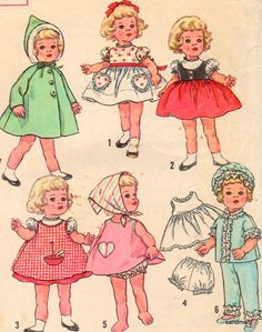 Vintage Simplicity 4652 Chatty Cathy Doll Clothes Sewing Pattern  20 1/2 inches