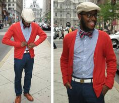How to wear: red cardigan, blue chambray long sleeve shirt, navy chinos, Red Cardigan Outfits, Cardigan Shirt, Sweater, Afro, Navy Chinos, Leather Brogues, White Leather, Gentleman Style, Men Looks