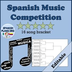 March Music Madness Song Bracket: This lesson was a popular one with my students. I use this lesson during the March to coincide with March Madness, but this can be used at any point in the year in any foreign language class. Spanish Songs, Spanish Lessons, Spanish Teacher, Spanish Classroom, Jesse Joy, Dance Careers, Music Competition, All About Dance, Music Words