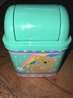 Vintage 1980s Sanrio Just For Fun Bear Hello Kitty Desk Mini Trash Can Bin 1987