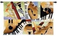 Pure Country Weavers Jazz Medley I Tom Grijalva Piano Violin Trumpet Blanket Throw Woven from Cotton - Made in The USA Most Popular Artists, Famous Artists, Woven Wall Hanging, Tapestry Wall Hanging, Wall Hangings, Tapestry Weaving, Custom Wall, Vibrant Colors, Colorful