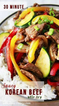 30 MINUTE Korean Stir Fry with a lip-licking sauce! You will be amazed at the flavors coming out of your kitchen in just 30 minutes - guaranteed to be a new household staple!   Carlsbad Cravings