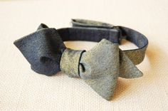 Blue Denim & Gold Dust Denim Bow Tie - Diamond Point, Reversible 6-way! #LastOne