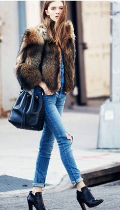 Fur. Ripped jeans.