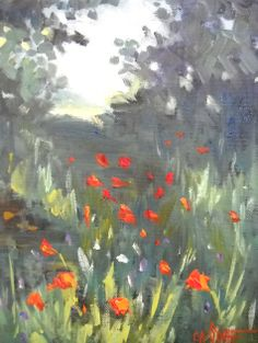 "Contemporary Artists of Florida: Daily Painting, Small Oil Painting, ""Mountain Poppy Field"" by Carol Schiff, 8x10x1.5"" Oil"