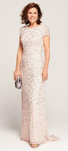 724f7d8a46cd3 Adrianna Papell Short Sleeve Sequin Mesh Gown (Regular   Petite)
