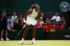 Serena Williams of The United States celebrates winning a point during the Ladies Singles first round match  against Amra Sadikovic of Switzerland on day two of the Wimbledon Lawn Tennis Championships at the All England Lawn Tennis and Croquet Club on June 28, 2016 in London, England.