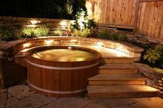idea of cedar tub partially surrounded by raised deck
