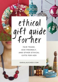 "I'm featuring some eco-friendly and fair trade gifts for the ""hers"" in your life (girlfriend, best friend, roommate, mom) in this ethical gift guide. Christmas Gifts For Kids, Handmade Christmas, Holiday Gifts, Christmas Ideas, Unique Gifts For Girls, Romantic Gifts For Her, Thoughtful Gifts For Her, Handmade Gifts For Her, Small Gifts For Girlfriend"