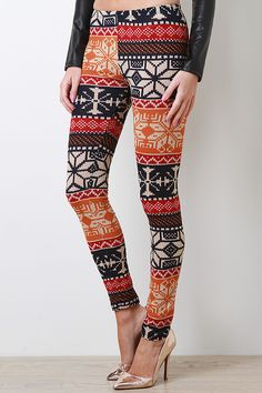 Amaze people with your style in these Seasonal Wonder Leggings! These leggings feature soft knit, Fair Isle print throughout, elasticized waist, taper cut, and finished with stitching detail