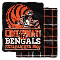 Cincinnati Bengals Home Field Cloud Double-Sided Throw Blanket, Multicolor