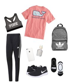 School Clothes #19 by lily141 on Polyvore featuring adidas, NIKE, Victoria's Secret, Vineyard Vines and Essie