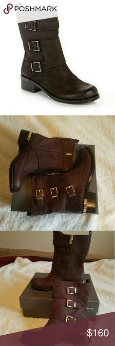 """Brand New Vince Camuto boots These boots are to die for!!! Boot shaft measures approximately 7.25"""" tall and opening is 12"""". Heel height 1.50"""". Leather upper, medium width with zipper closure. Box included.  Same or next day shipping Monday-Friday. Vince Camuto Shoes Combat & Moto Boots"""