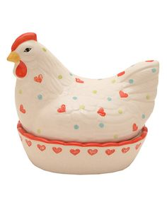 Take a look at this Mason Cash Heart & Dot Hen Egg Nest by Count Your Chickens: Dishware & Décor on #zulily today!