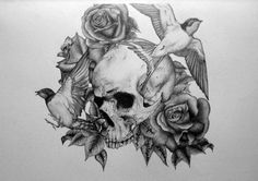 i say leave the skull in shadow, as in very light but bright colors to the birds and flowers.