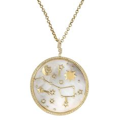 #iHistory #Astrology #TheRetronaut, #gold and #diamonds #tarot #pendant with #moon, #stars and #constellations by #StacyNolan #stacynolanjewelry. #jewellery #TrendBook2017 @vicenzaoro