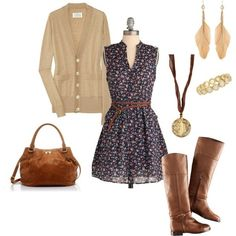 Dark floral dress, beige cardigan, brown leather boots