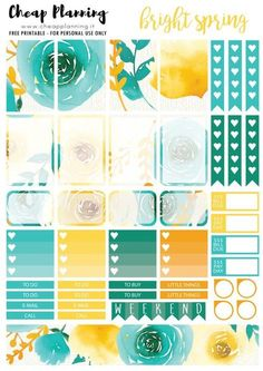 Free Printable Bright Spring Planner Stickers from Cheap Planning