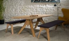 The Veizla Table, with two Veizla Benches. Available from Danish Kitchen Design and Lost Weekend, in Dublin, Ireland. Danish Kitchen, Dining Chairs, Dining Table, Open Plan Living, Design Awards, Architecture Details, Solid Wood, Kitchen Design, Living Spaces