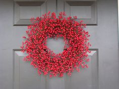 Winter Wreath, Valentine's Day Wreath, Red Berry Wreath, Christmas Wreath-  Featured in Better Homes and Gardens Magazine on Etsy, $65.00