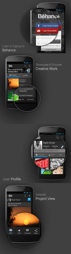 Behance, android concept design.
