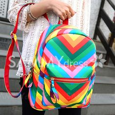 Trendy Women's Satchel With Rainbow and Color Block Design Dress Shorts Outfit, Dress Outfits, Baby Kids Clothes, Clothes For Women, Rainbow Bag, Short Long Dresses, Block Design, Sammy Dress, Vera Bradley Backpack