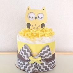 Neutral Mini Chevron Gray and Yellow Owl Diaper Cake Baby Shower Centerpiece