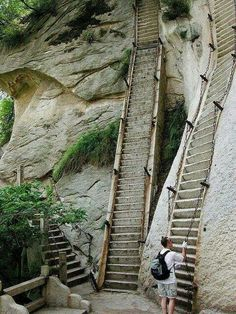 Most Dangerous Hike in the Wold, Huashan, China - Like to see it, but not walk it.