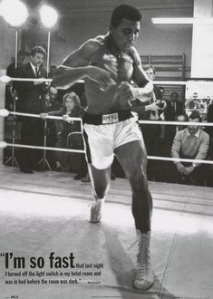 "A great Muhammad Ali poster! ""I'm so fast that last night I turned off the light and was in bed before the room was dark."" Fully licensed. Ships fast. 25x35 inc"