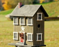 Country Bird House Primitive Salt Box by birdhouseaccents on Etsy
