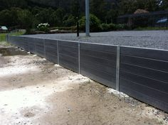 Retaining wall products - concrete sleepers smooth face - colour charcoal.