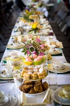 Afternoon tea on vintage cake stands and china by Itsy Bitsy Vintage for a village hall inspired wedding. #PerfectPeaktipiWedding                                                                                                                                                      More