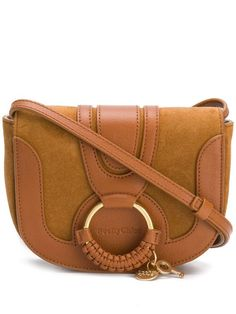 Leather Crossbody Bag, Leather Bag, Calf Leather, Brown Leather, See By Chloe Bags, Types Of Bag, Embossed Logo, Hana, Saddle Bags