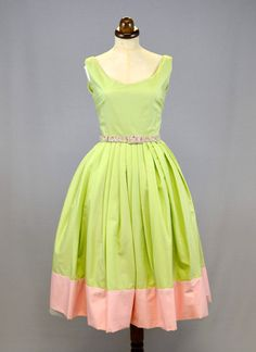1950s Style Spring Green Cotton Tea Dress by alexandrakingdesign