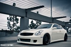 Infiniti G35... I love ryan but I was never crazy about his car...so so so excited for him to be trading up Monday to an infinity..really any four door would be better than his car, i'll never have to climb into the backseat to put layla in her carseat again, yay!