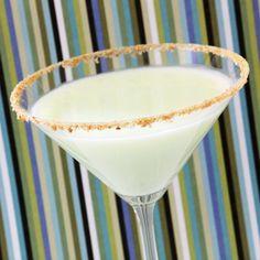 Key Lime Pie Martini: KeKe Beach Key Lime Cream Liqueur, Vanilla Vodka, Pineapple Juice, Double Cream, Lime Wedges, Digestive Crumbs