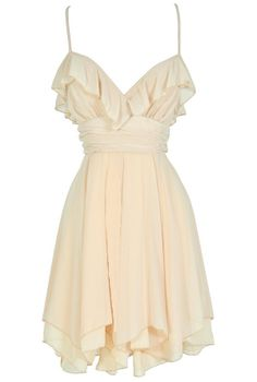ivory ruffle waterfall dress - ties up the back and is so romantic and cute! #LWD