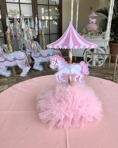 No photo description available. Carousel Birthday Parties, Carnival Themed Party, 1st Birthday Themes, Carnival Themes, Circus Birthday, Circus Party, Unicorn Birthday Parties, Birthday Party Decorations, Baby Shower Decorations