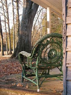 ~ A Beautiful Vintage Wicker Chair On An Old Farmhouse Porch... ~