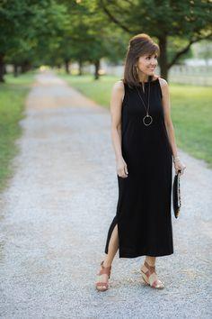 Black Maxi Dress + Denim Jacket