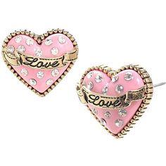 Betsey Johnson Pink Glitter Heart Stud ($25) ❤ liked on Polyvore