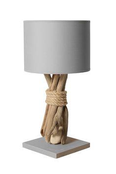 Lampe Deco Avec Pied En Bois Flotte Et Galets Benodet Luminaire