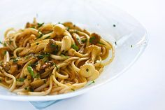 Noodles with Mushrooms and Lemon Ginger Dressing ~ Noodles with mushrooms, sesame seeds, and herbs, tossed with a lemon ginger dressing. ~ SimplyRecipes.com