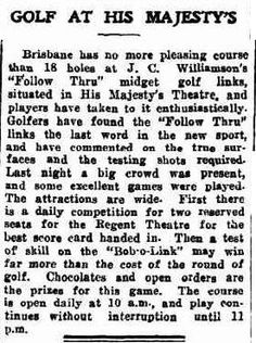 Min Golf - The craze hits Brisbane Sunday Mail 1 March page Theatres and picture show started losing money, so they put in mini golf courses too! Putt Putt Golf, Dance Marathon, Miniature Golf, Lost Money, Theatres, Calisthenics, Brisbane, Golf Courses, March